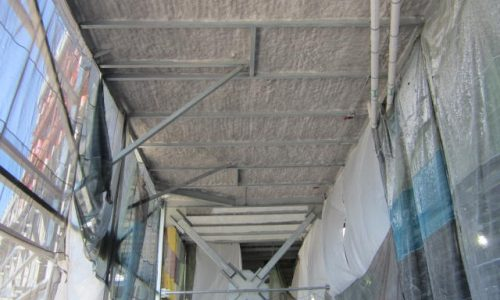 New Daytona Speedway, concourse insulated with Monoglass Spray-On in grey.
