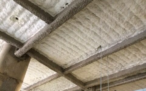 Monoglass Insulation applied over fireproofing on Texas A & M University